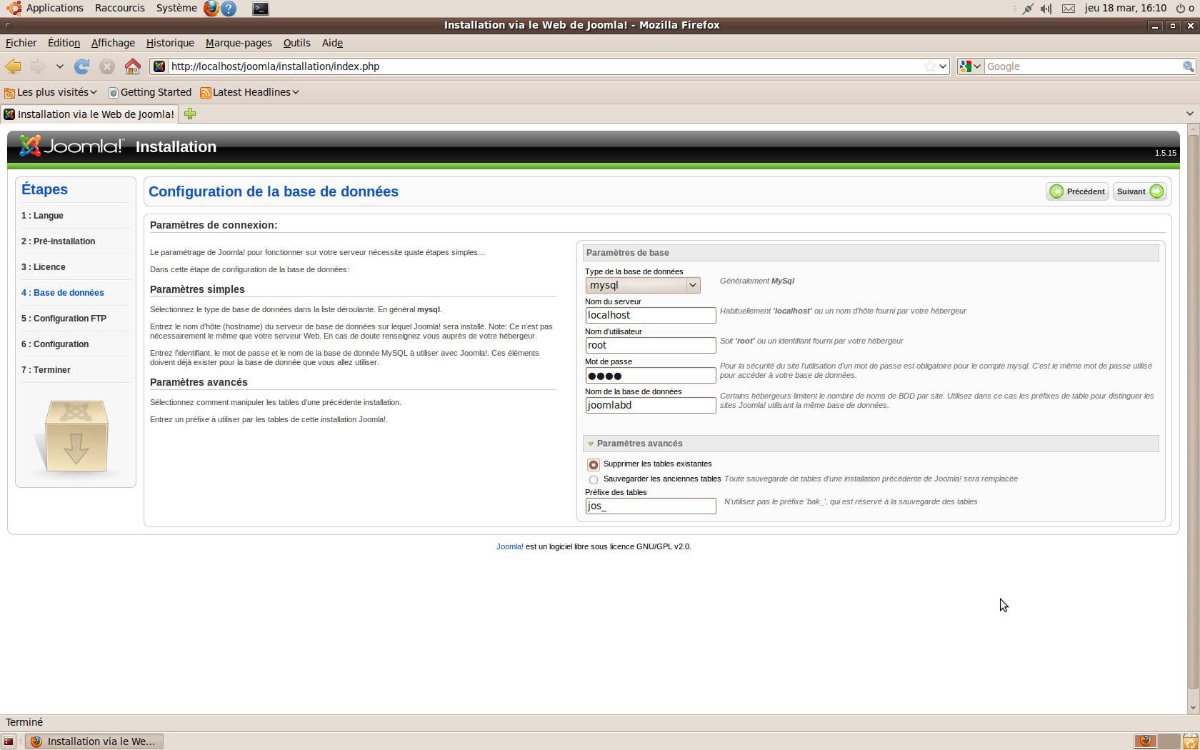 Joomla Configuration de la Base de données