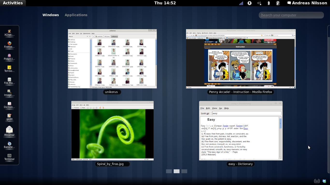Aperçu du bureau GNOME 3.0