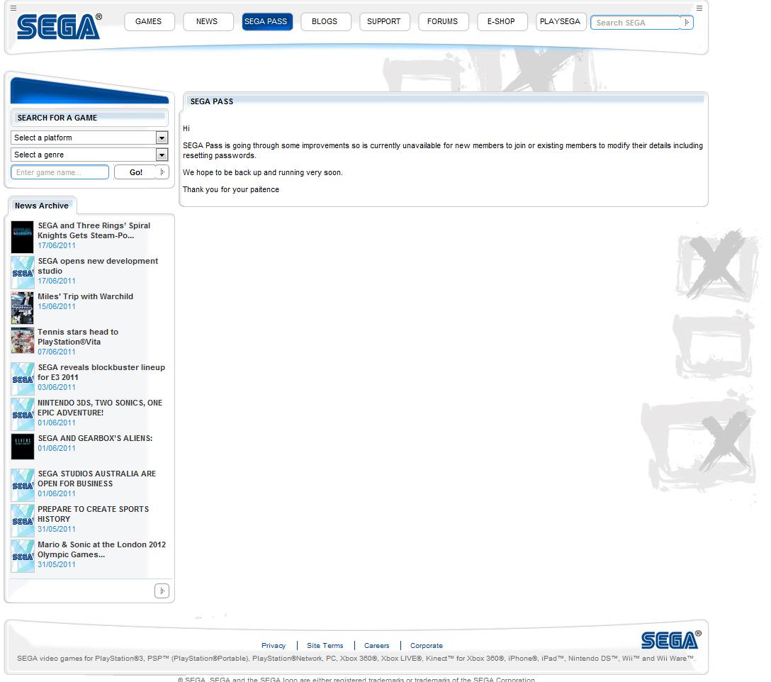 Message de Sega par rapport au Hack du Sega-Pass
