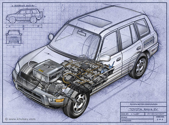 Toyota Rav4 EV Cutaway Illustration