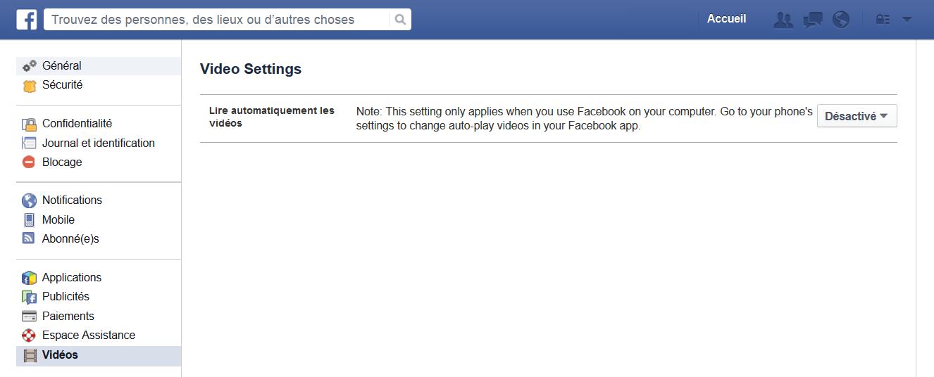 désactiver video facebook